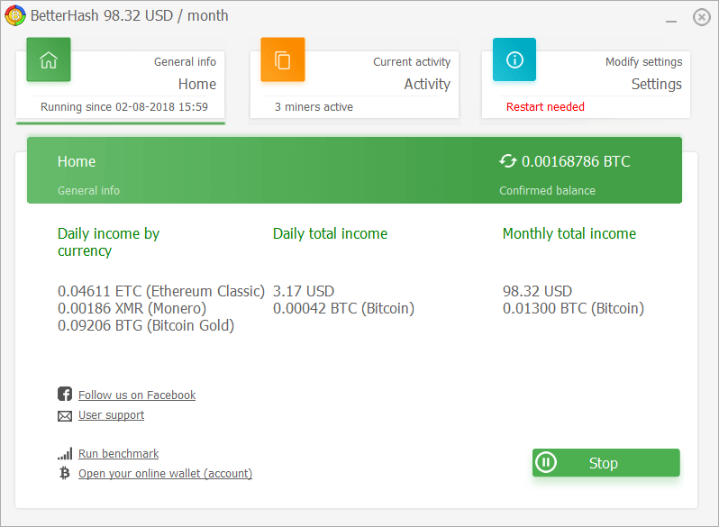 Screenshot of BetterHash